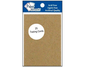 "Paper Accents Blank ACEO Trading Cards 2.5""x 3.5"" Recycled Chipboard Archival 100lb 25 pc"