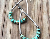 Silver and Turquoise Hoop Earrings, Turquoise Jewelry, Boho Jewelry, Turquoise Earrings, Long Hoop E861