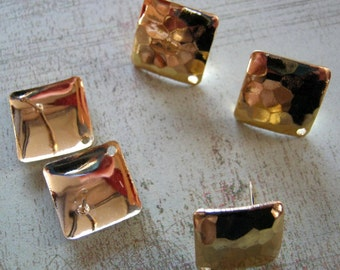 Vintage Hammered Gold Plated Brass 12mm Square Post Earrings with Hole (8)