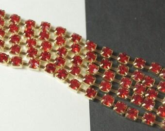 Swarovski Siam Red Rhinestone 4mm Chain (1) Foot
