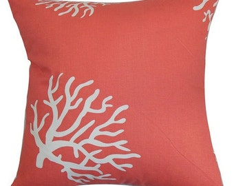 Cotton Coral Print Decorative Pillow Cover - Available In 3 Sizes