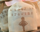 Tea Bag Favors Fully Assembled Baby Shower Birthday Muslin Bags Ballerina Baby is Brewing Set of 10