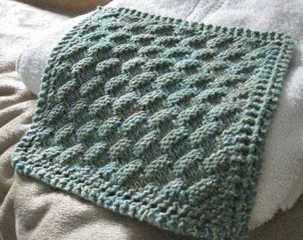 Knit Washcloth Pattern..Basket Weave on Diagonal with Eyelet Border