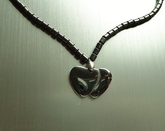 Heart Necklace Valentines Day Beaded Hematite Girls Necklace Sweetheart Jewelry Teen Jewelry Handcrafted Jewelry Womens Necklace Two Hearts