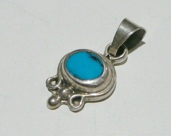 Vintage Taxco Silver small tiny artisan abstract turquoise charm pendant