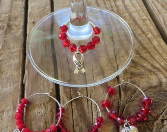 HIV/AIDS Awareness Crystal and Silver Wine Glass Charms