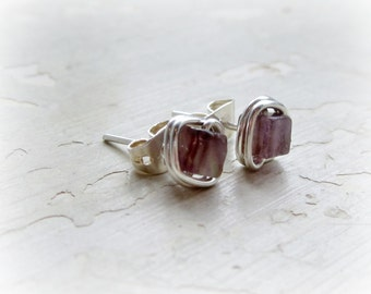 Cube Amethyst Stud Earrings, Square Post Earrings, Sterling Silver Posts, Wire Wrapped Studs, February Birthstone, Hypoallergenic, Cube Stud