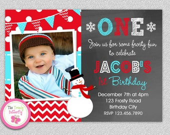 Snowman Birthday Invitation , Snowman Party Invites Printable Boys or Girls