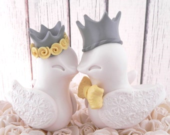 King & Queen Love Birds Royal Wedding Cake Topper -Ivory Birds, Grey Crowns, Yellow Accents - Bride and Groom Keepsake - Fully Customizable