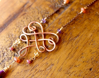 Copper Swirl Necklace with Purple Chalcedony, Ruby, Sunstone, Amethyst, and Citrine