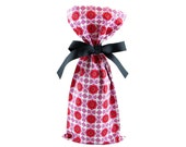ON SALE -- Organic Cotton Gift Bag for Wine or Small Items for Valentine's Day, Birthday, or Any Occasion