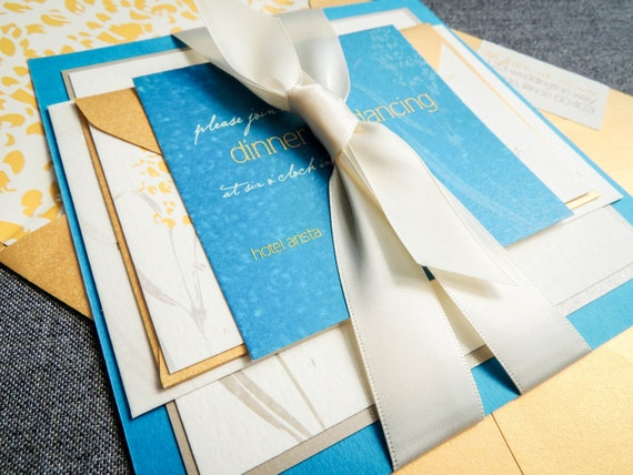 Blue And Yellow Wedding Invitations: Blue And Yellow Wedding Invitations Summer Wedding