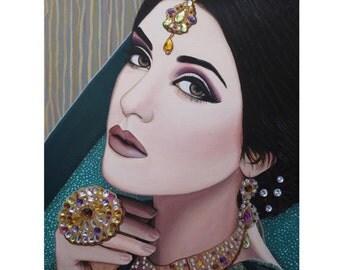 Viridian Indian Beauty - ART PRINT - 8 x 10 - By Mixed Media Artist Malinda Prudhomme