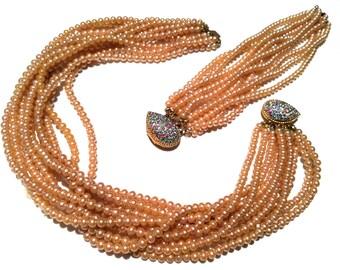 MARVELLA Pearls SET Bracelet and Necklace Pink Blue Green Rhinestones Multistrand Torsade Choker marked rare 1920s 30s 40s Vintage Jewelry