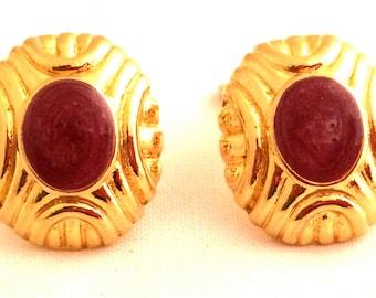 PURPLE Clip on Earrings Authentic Vintage Jewelry Genuine NOS New Old Stock 80s Bold Golden Modernist Button Enamel Metallic Swirls Design