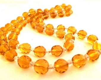 CZECH Vintage Jewelry 1930s Czechoslovakian crystal bead Yellow Amber Long Necklace artedellamoda SALE was 95