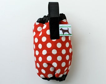 Dog Poop Bag Holder - Eco Friendly, Reuse Your Shopping Bags - Red polka dot