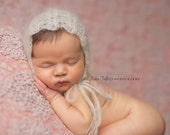 Delicate Crochet Newborn Mohair Bonnet - Made to Order