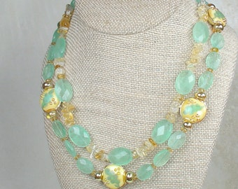 Citrine and Fluorite Double Strand Necklace with Handmade Lampwork glass beads-Free Shipping Included