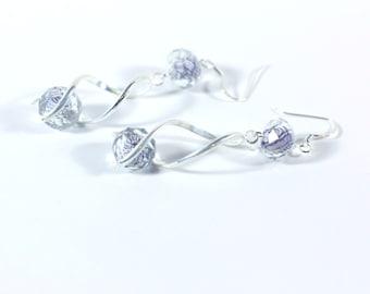 Black and White Crystal Bead Trendy Spiral Earrings - Fashion Jewelry Handmade Womens earrings Silver spiral earrings - 925 sterling silver