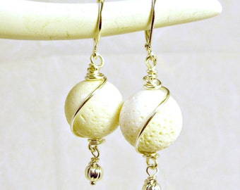 White Sponge Coral Silver Wire Wrapped Dangle Earrings