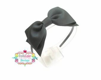 Blair Waldorf Inspired Hard Headbands for Preteen/Big Bow Headband/Hair Bows for Girls/Toddler Headbands/Big Gray Bow/Hairbows/Gray Headband