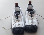 House Shoes Sneakers with Leather Sole in dark grey and white - all adult shoe sizes US 4-12 EUR 35-46