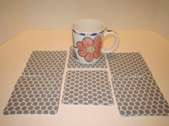 Fabric Drink Coasters Mug Rugs - Grey Gray White Polka Dots Modern Design - Set of 6