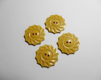 Bakelite Creamed Corn Yellow Buttons Radiating Suns