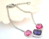 Purple and Pink Bracelet Silver Any Ocassion, Bridesmaids, Bride, Gift