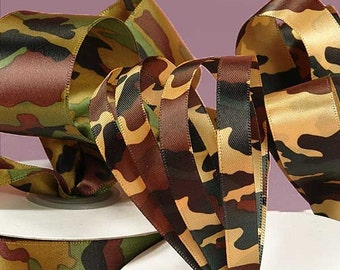 "New 3 yards Satin Camouflage Ribbon 1-1/2"" wide. Military Camo Ribbon Dark or Light"