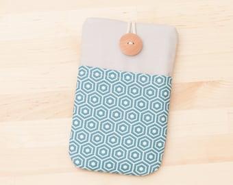Nexus 5x case / iPhone 6s case / iPhone 7  sleeve / Samsung Galaxy case / iphone SE case / - blue hexagons with  pockets -