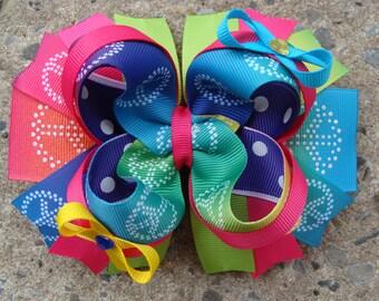 Peace Hair Bow Peace Sign hair bow Large Boutique Hair Bow Loopy Flower Hair Bow Stacked hair bow