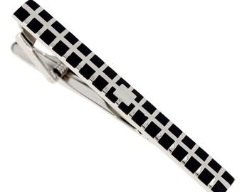 Black Enamel Grid Tie Clip 1800089