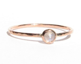 SALE! : Moonstone & Solid Rose Gold Ring - Stacking Ring - Thin Gold Ring -Gemstone Ring -Moonstone Engagement Ring - Bridal -Made To Order.