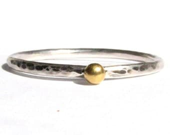 Solid 24k Gold and Silver Ring - Stacking Ring - Thin Ring - Rustic Ring - Oxidized Ring - Yellow Gold - Silver Ring - MADE TO ORDER.