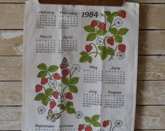Vintage 1984 Linen Calendar Wall Hanging Strawberries