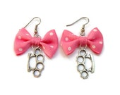 Pink Bow and Brass Knuckles Earrings - Rockabilly, Pinup, Retro - Nickel Free - Big Fashion Jewelry - Handmade in USA