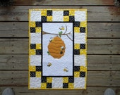 Custom Made Just For Your Baby Bumble Bee Quilt in TWO Sizes, Cradle-Bassinet 30x21 and Full Crib 56x44