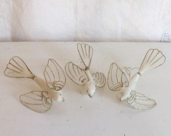 Rare vintage set of 3 nylon net ornament dove ornament dove picks with gold and glitter ornament Christmas ornament wedding decor