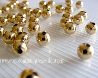50 pcs 22kt Gold plated High quality brass beads, brass finding jewelry making -6mm