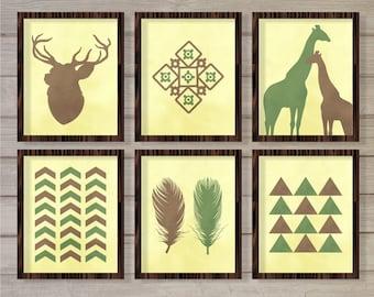 Tribal Art Print Set of 6 - Green Brown - 8x10 Instant Download Printable Watercolor Deer Giraffe Feathers Native American Living Room Decor