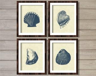 Sea Shells (Set of 4) 8x10- Cream Navy Blue Beach Ocean Nautical Instant Download Digital Printable Poster Bathroom Home Decor Wall Art