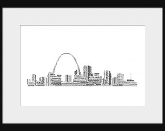 St. Louis Skyline Word Art  Typography Print Poster