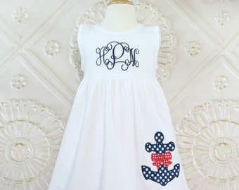 Nautical Dress, Appliqued Dress, Embroidered Dress, Monogrammed Dress, Toddler Dress, Summer Dress, Sundress, Baby Girl
