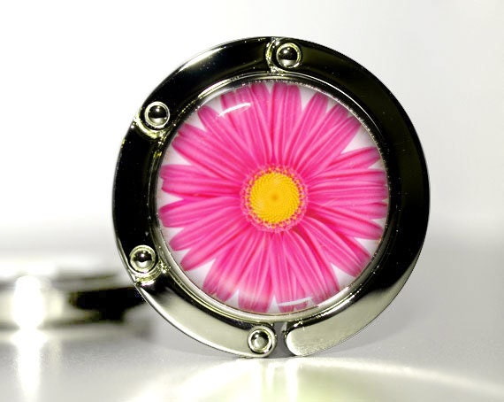 Hot Pink - March Birthday Gifts for Her - Xmas gift for her, Holiday gifts for Friends, Coworkers - Purse Hook for bag - Flower, Daisy