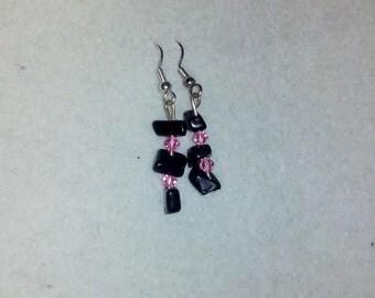 Black bead earrings with Swarvoski crystals