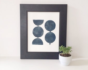 Modern Decor Geometric in Midnight Blue Linocut Art Print 8x10  Mid Century Modern scandinavian design
