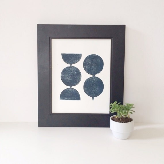 Modern Decor Geometric in Midnight Blue Linocut Art Print 8x10  Mid Century Modern scandinavian design