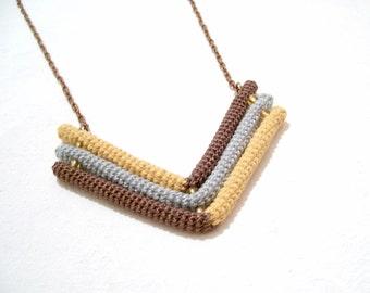 Triple Chevron Necklace Brown Grey Ochre, Geometric Arrow Pendant